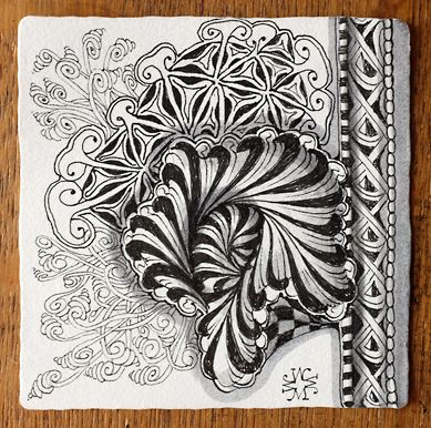 Zentangle.com. #5. A new zentangle design from Rick and Maria, Aquafleur, inspired from their visit to Bermuda. More tangles added.