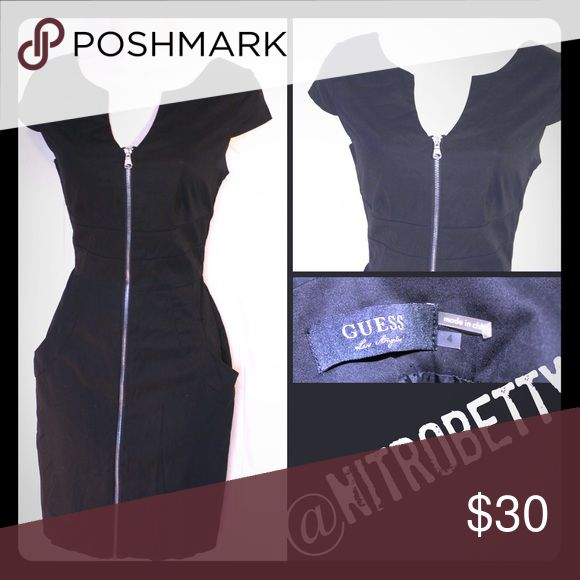 GUESS black zipper front Bodycon dress Black sexy GUESS dress with silver zipper front Guess Dresses Mini