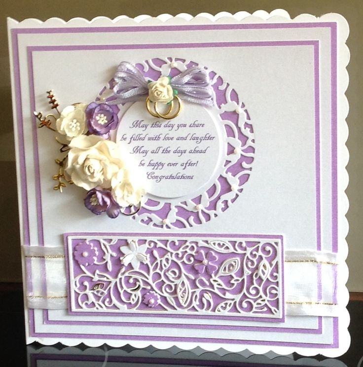 Wedding card cut with tonic dies and tattered lace panel