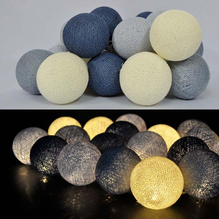 Little lights i grå/blå, 20 led pærer på hver lyskæde.