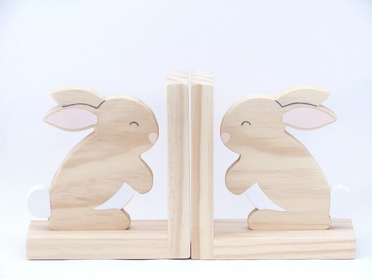 Raw Timber Rabbit Bookends