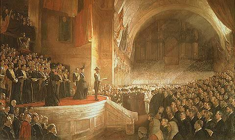 TOM ROBERTS OPENING OF THE FIRST PARLIAMENT OF THE COMMONWEALTH OF AUSTRALIA BY H.R.H. THE DUKE OF CORNWALL AND YORK, (LATER KING GEORGE V) MAY 9 1901 (1903)