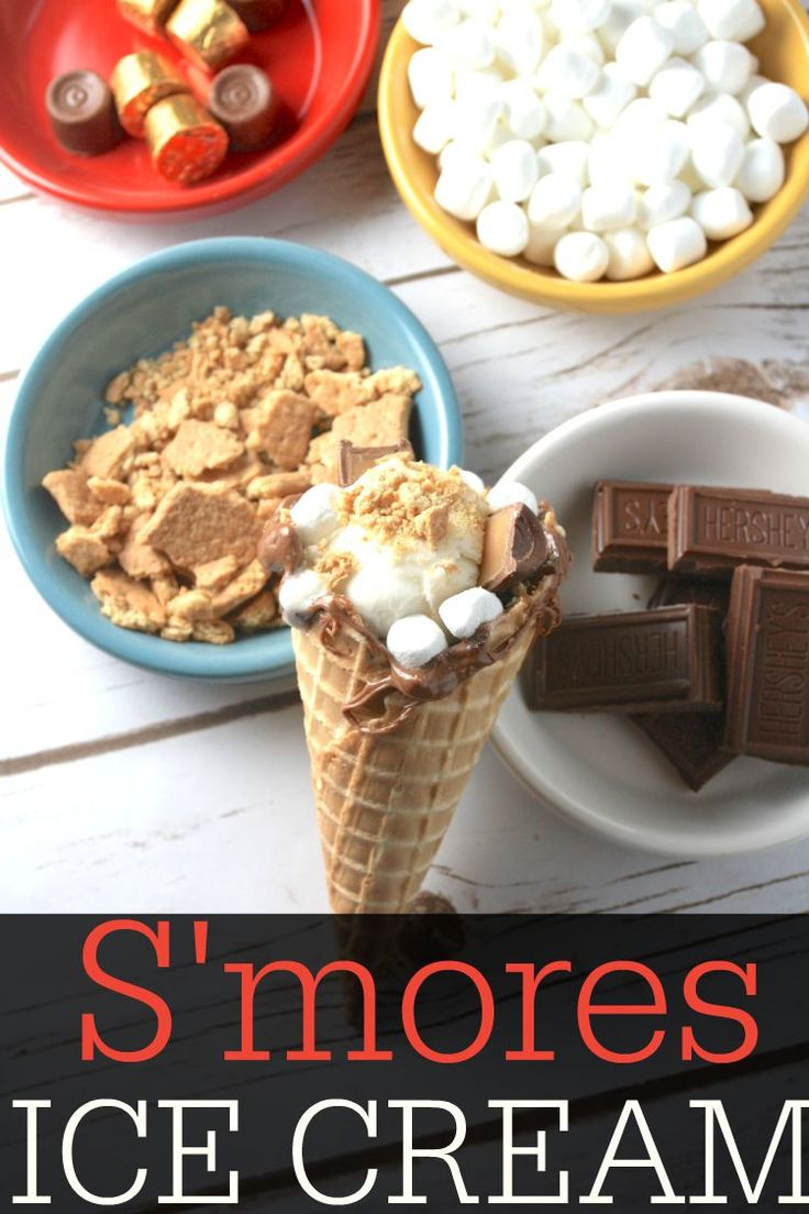 S'mores Ice Cream, Ice Cream Ideas, S'mores, How to Make S'mores, Party Ideas, Ice Cream Bar, Dessert Ideas, Marshmallows, Ice Cream Cone Desserts, Cone Dessert Ideas