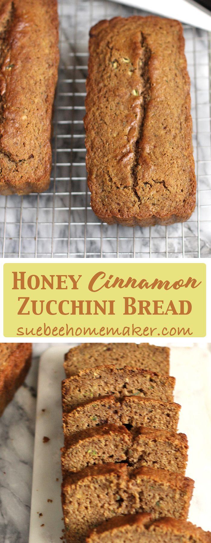Honey Cinnamon Zucchini Bread uses zucchini to moisten a honey cinnamon flavored bread - to make the most interesting and delicious quick bread!