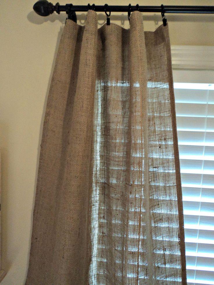 Burlap Curtain Panels Pair of Curtains French Farmhouse Coastal Chic Home Decor. $60.00, via Etsy.