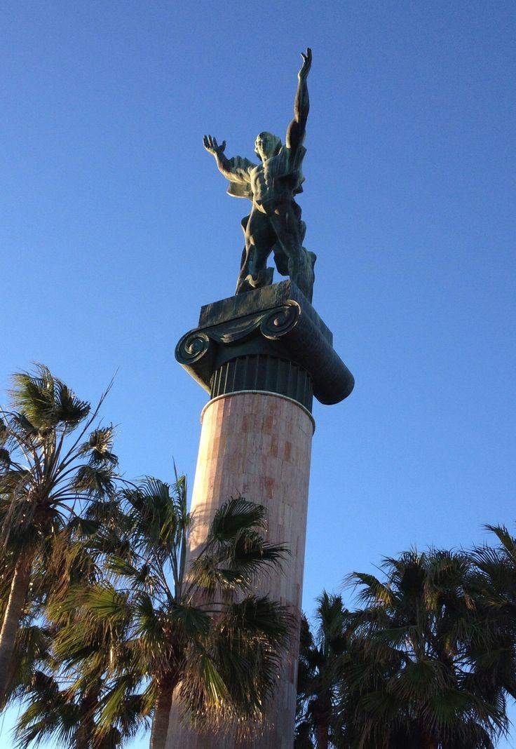 La Victoria statue, overlooking Playa Levante, Puerto Banus, Spain