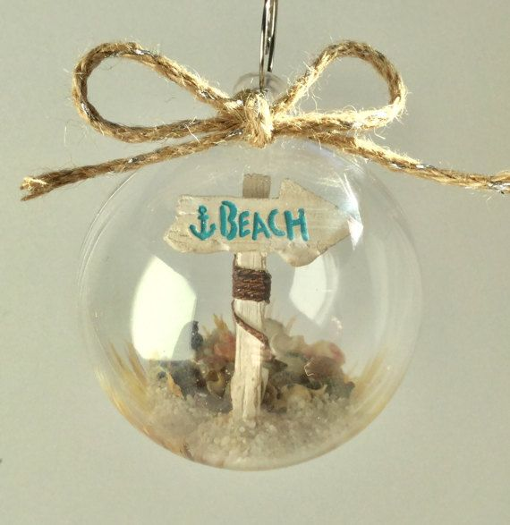 Personalized Beach Ornament  Sand and Seashell Ornament