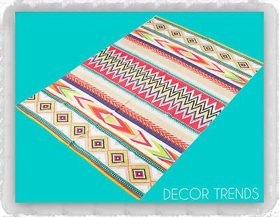 COTTON RUG TRIBAL ETHNIC MEXICAN AZTEC MOROCCAN MULTI COLOR COLOUR TURQUOISE MAT AU $84.90