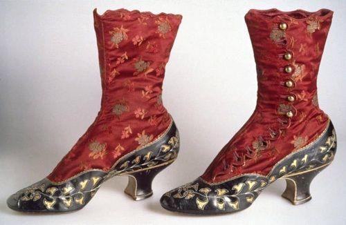 Boots, 1883. Kidskin, silk satin brocade, silk thread, brass buttons.: