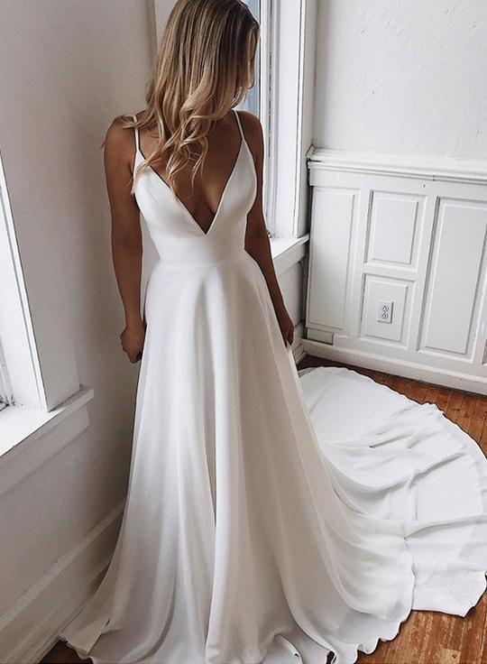 Weißes langes Kleid aus Chiffon-Spitze mit V-Ausschnitt, Abendkleid