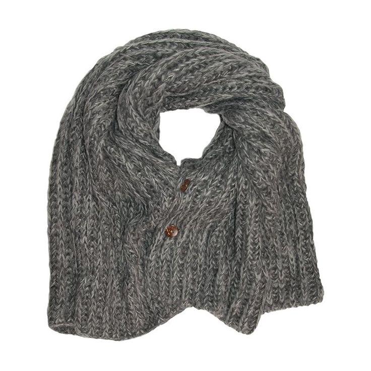 Zusss Sjaal XL gebreide col/omslag 50x210cm, grijs