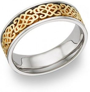 Two Tone Gold Celtic Heart Knot Wedding Band Ring