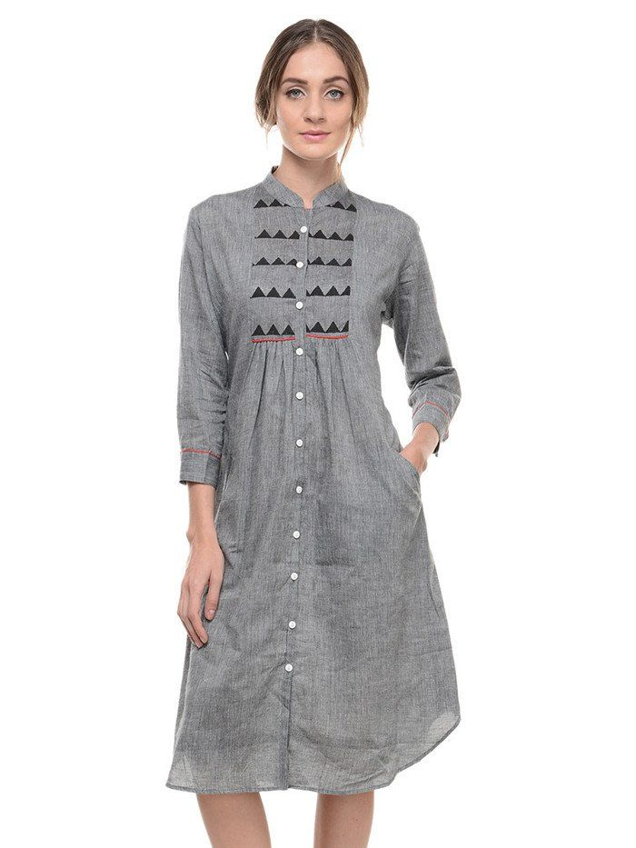 Grey Cotton Mangalgiri Cotton Tunic