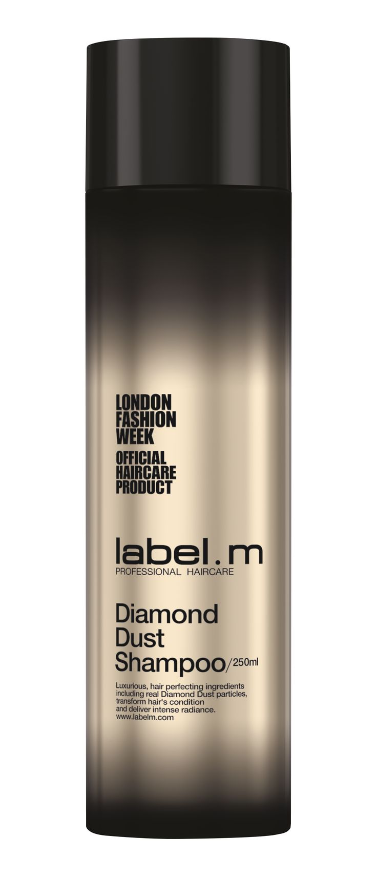 label.m Diamond Dust Shampoo Diamond Dust particles exfoliate individual hair strands, removing excess build-up of toxins whilst pH balancing champagne acts as a gentle, yet deep natural cleanser revealing hairs' natural beauty and shine.