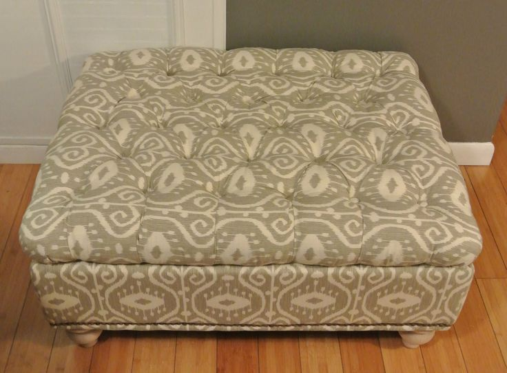 Grey And White Ottomans And Benches | Beautiful Gray And White Ikat Tufted Storage  Ottoman With