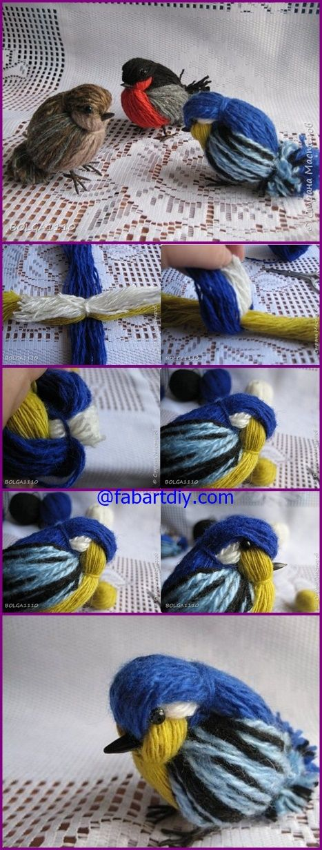 How to DIY Cute Yarn Birdie | www.FabArtDIY.com #Crafts, #Yarn Video Included=> http://www.fabartdiy.com/how-to-diy-cute-yarn-birdie/
