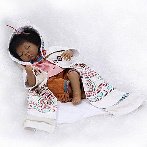 Nicery rinascere bambino Bambola indiano Pelle nera 22 pollici 55 cm Simulazione Silicone Vinile Bocca magnetica realistico Ragazzo Ragazza Giocattolo Totem panno occhi si chiudono