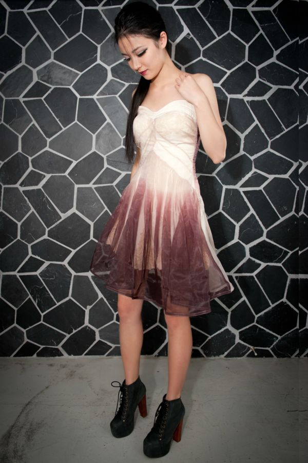 Image of Gradient Purple/White Evening Dress