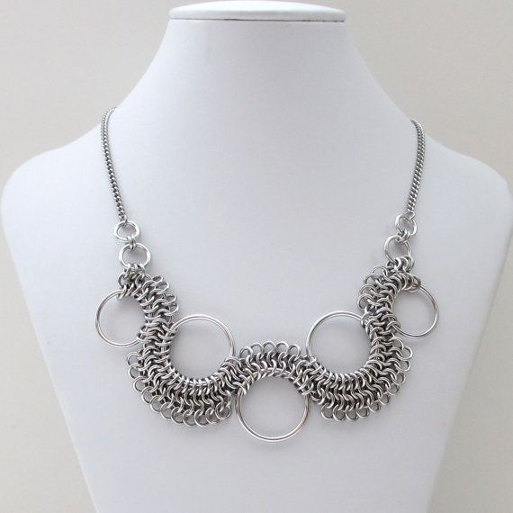 Chainmaille necklace, Euro 4 in 1 weave by TattooedAndChained, $75.00 Like the concept