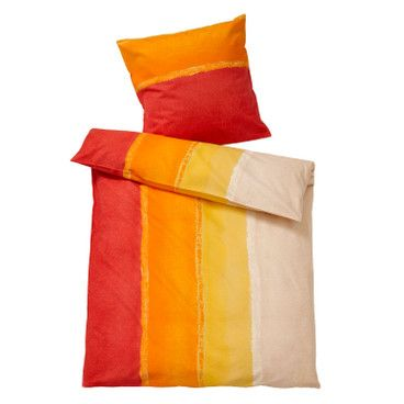 Bio-renforcé beddengoed, rood-oranje
