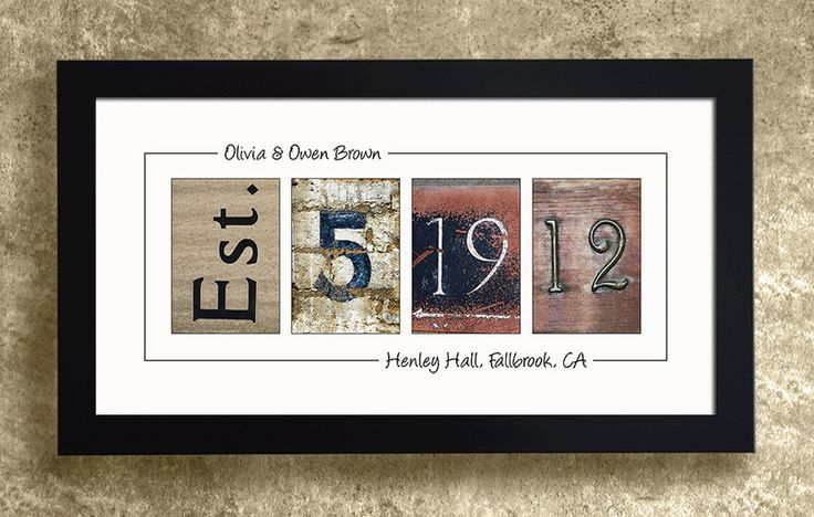 Numbers Photo Art FRAMED Wedding Date