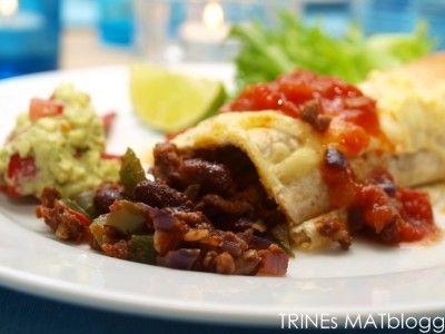 Burritos med tomatsalsa og guacamole » TRINEs MATBLOGG