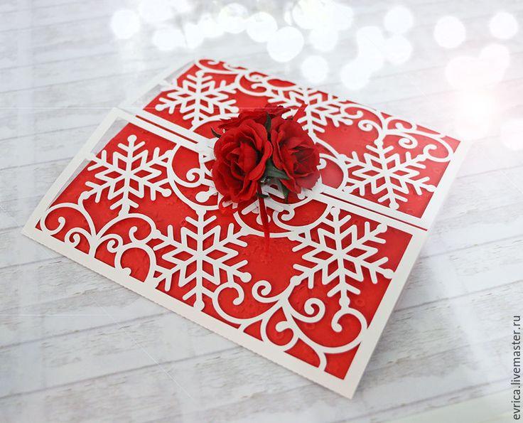 """Купить """"Снежинки"""" открытка - белый, красный, Конверт для денег, новогодняя открытка, новогодняя, снежинка, снежинки"""