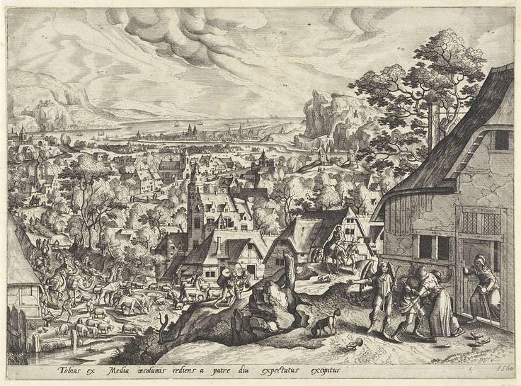 Anonymous | Terugkeer van Tobias, Anonymous, Hans Bol, Gerard de Jode, 1547 - 1591 | Bij thuiskomst valt Tobias zijn vader Tobit in de armen. Zijn moeder Anna kijkt toe vanuit de deuropening. Aartsengel Rafaël wijst in de richting van een stoet slaven, runderen, schapen, bepakte kamelen en manden met spullen, die Raguel voor hen had meegegeven. Onderaan in de marge een verklarende, éénregelige tekst in het Latijn.