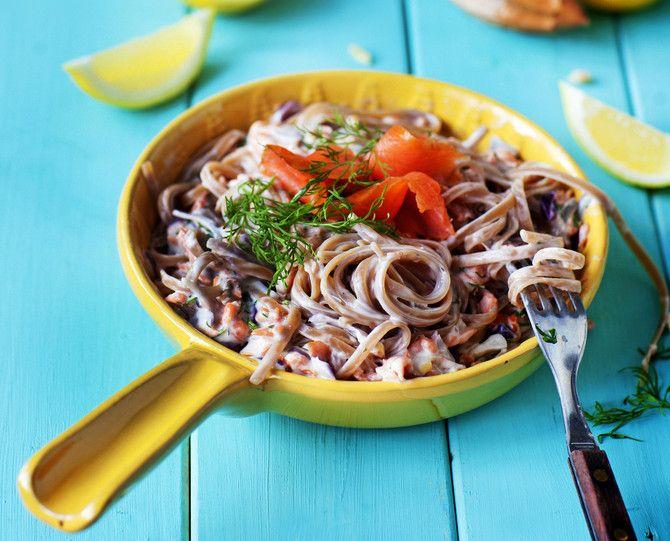 Herkullinen arkipasta syntyy nopeasti. Ainekset pilkotaan pannulle, pasta kiehumaan, kaikki sekaisin ja syömään!
