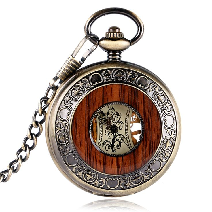 Retro Bronze Hollow Case Roman Number Skeleton Hand-wind Mehanical Fob Pocket Watches With Chain Reloj de bolsillo