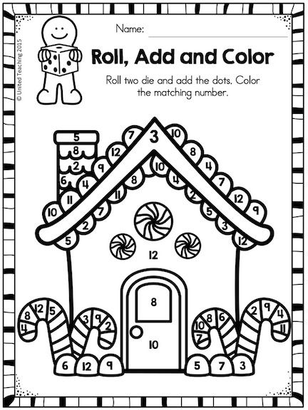 Practice addition skills with this interactive roll, add and color the Gingerbread House activity.