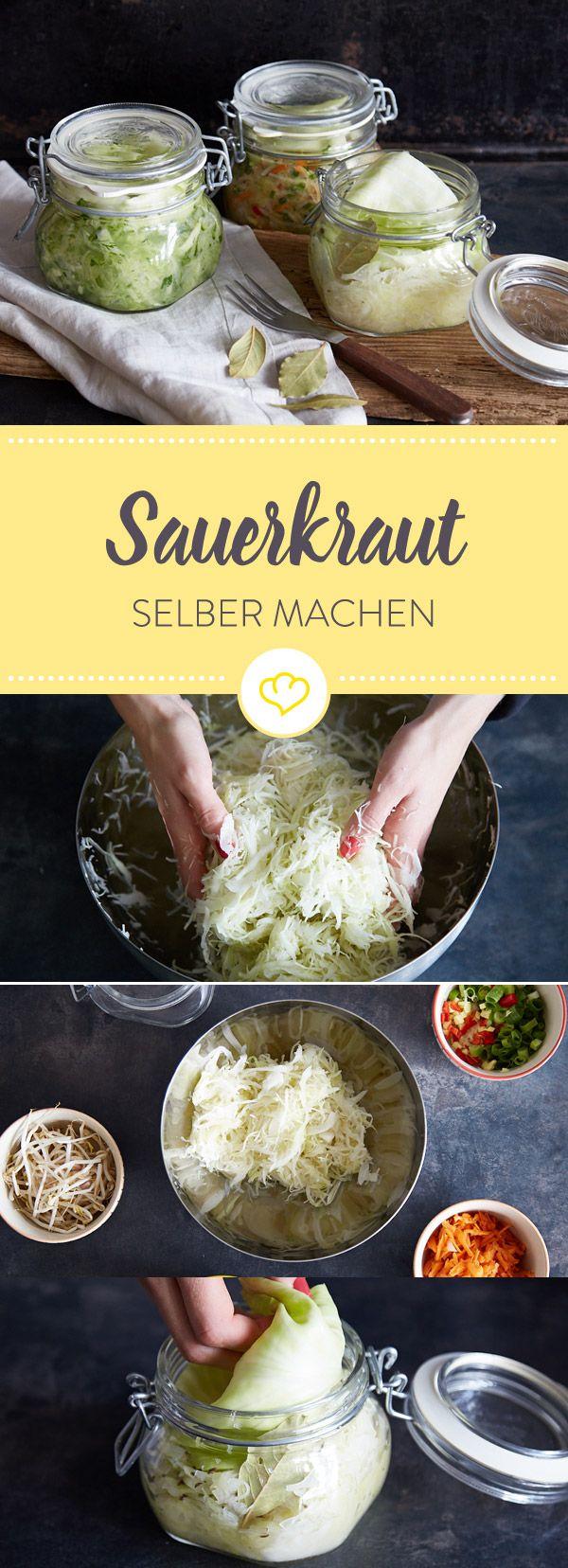 Selbstgemacht schmeckt´s doch am besten! Hier erfährst du, wie du Sauerkraut ganz einfach selber machst - entweder klassisch oder mal etwas ausgefallener...