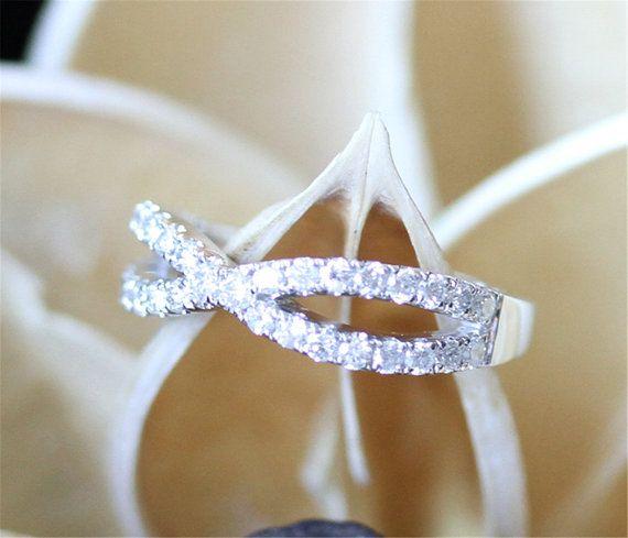 Infinity Wedding BandHalf Eternity Pave Diamonds Wedding by LeRhin