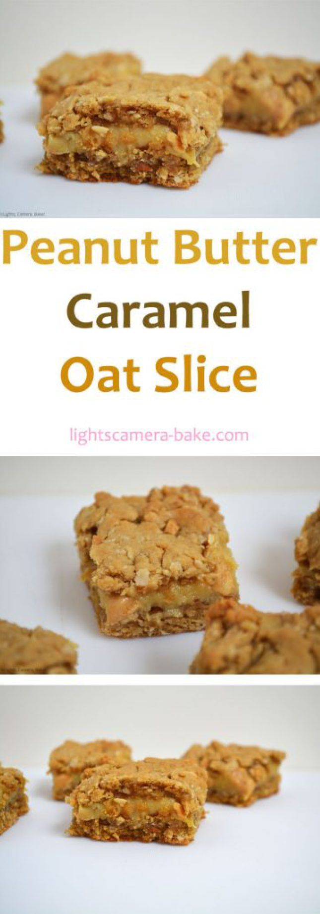 Peanut Butter Caramel Oat Slice has a crunchy and chewy peanut butter oat base and top with pockets of peanut butter gooey, buttery caramel in the middle.