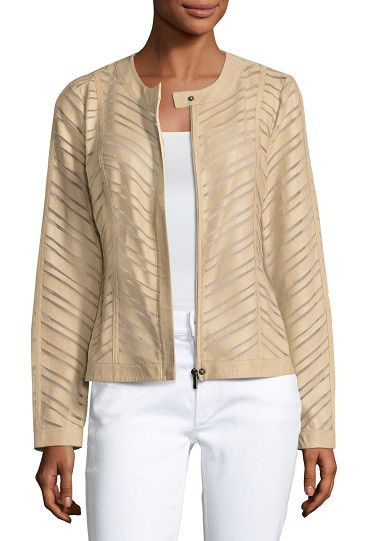 On SALE at 26% OFF! Striped Leather Jacket by Neiman Marcus. ONLYATNM Only Here. Only Ours. Exclusively for You. Neiman Marcus striped leather and polyester mesh jacket. Crew nec...