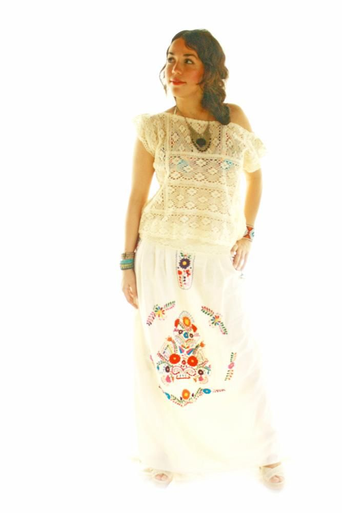 Crochet Lace Mexican Embroidered Skirt Maxi