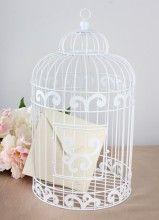 Enveloppendoos romantic birdcage - een romantische vogelkooi voor het bewaren van alle envelopjes tijdens je bruiloft!