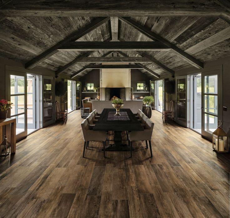 Living amenajat cu gresie portelanata cu aspect de lemn rustic, colectia Barnwood, producator Dom Ceramiche, importator Gada Ceramic Bucuresti