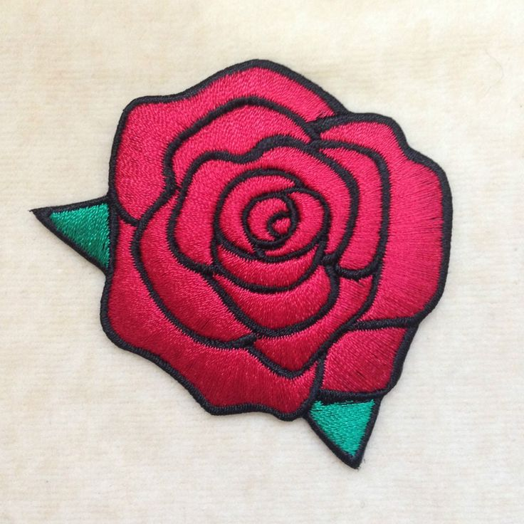 ROSE FLOWER EMBROIDERY IRON ON PATCH BADGE #RED #Unbranded