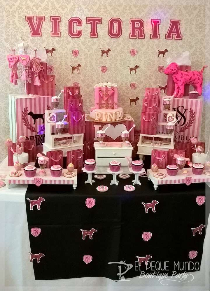 Gorgeous Victoria's Secret pink birthday party! See more party ideas at CatchMyParty.com!