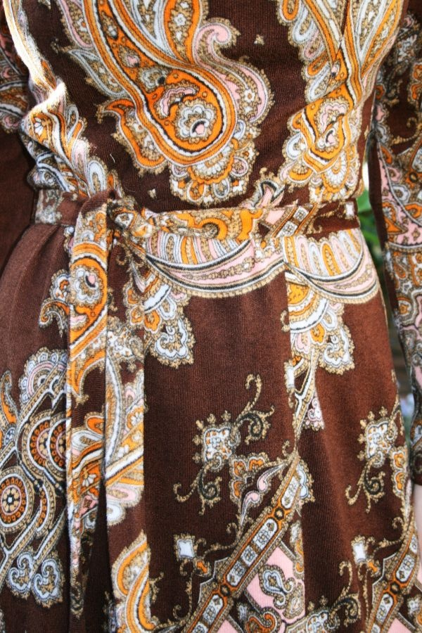 1970s paisley velour maxi dress  www.kittysvintage.co.uk  £70
