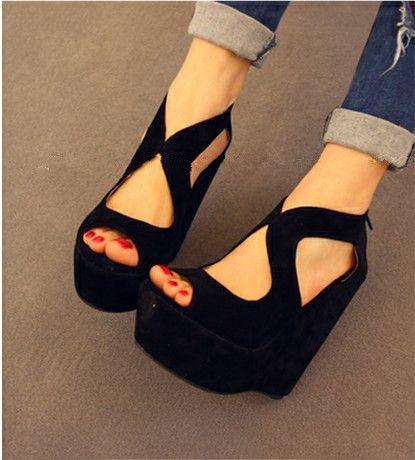 Verano nuevo llegada 2015 sandalias alta tacon cuñas mujer de zapatos plataforma de terciopelo mujer sandalias