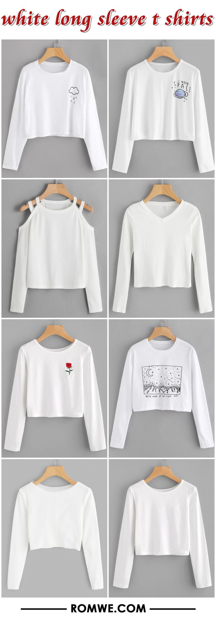 white long sleeve t shirts from romwe.com
