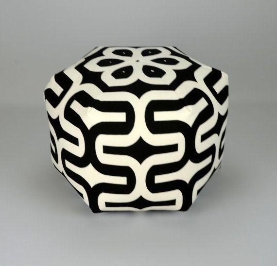 "18"" Wide By 14"" Tall Floor Ottoman Pouf Pillow Black & White Slub - Embrace Contemporary Modern Print"