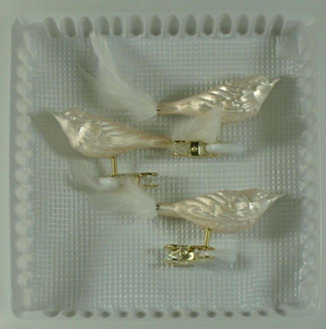 Vögel Feder Eislack champagner Christbaumschmuck Lauschaer Glas das Original