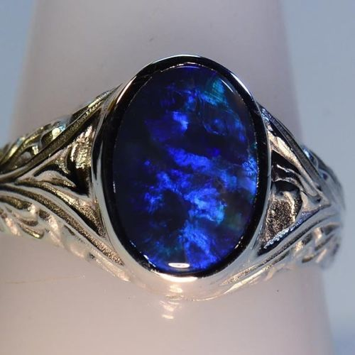 Solid Sterling Silver Solid Australian Lightning Ridge Black Opal Ring I WANT THE SHINY.
