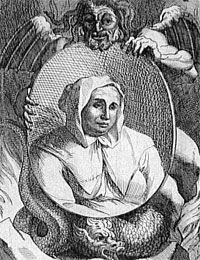 Catherine Deshayes (1640-1680) es una mujer impasible, imperturbable, fue detenida a las puertas de una iglesia. Conocida como la Voisin, fue quemada vida por sus reiteradas actividades lucrativas relacionadas con embrujos, elixires, ritos de magia negra, abortos, asesinatos y envenenamientos.