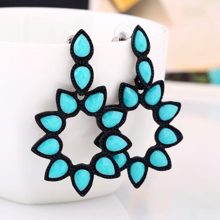 2016 long  Crystal Turkey Blue drop earring Bride earring for women grandes boucles d'oreilles pendantes bohemian earring