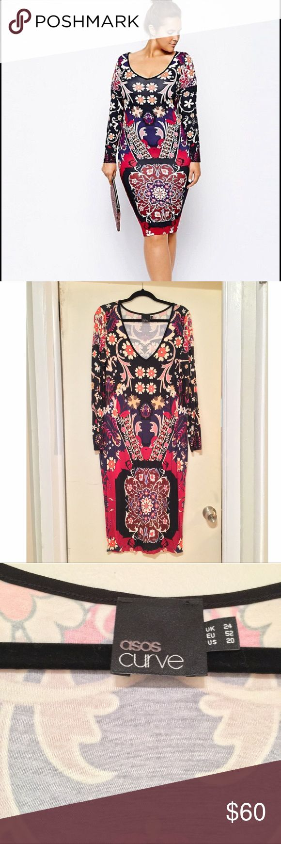 ASOS Curve Bodycon Dress in Folk Floral I am in love with dress. I almost don't want to see it go. Perfect everything. Light material, coolest print, hot neckline. 😻 ASOS Curve Dresses
