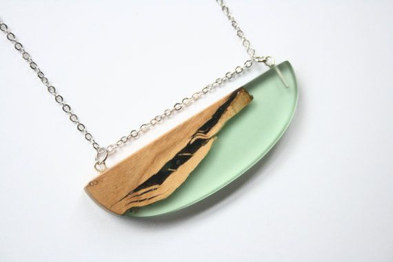 Wide statement pendant / necklace handmade from mint by BoldB